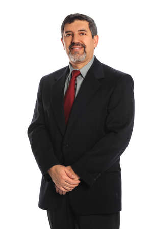 Portrait of mature Hispanic businessman smiling isolated over white background