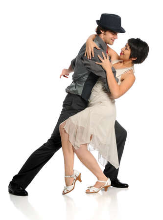 tango dance: Young dancers performing isolated over white background