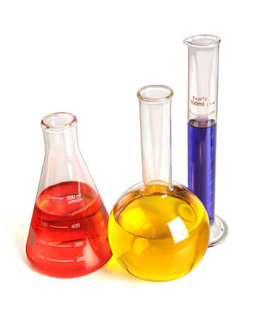 Laboratory glassware with liquids of different color over white bakground - With clipping path Stock Photo