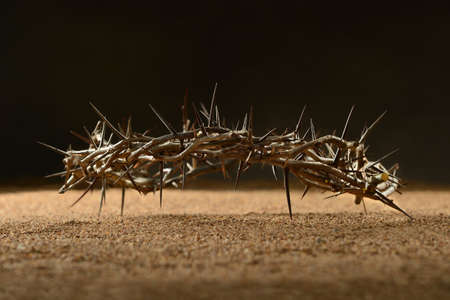 jesus christ crown of thorns: Crown of thorns laying on sand over dark background Stock Photo