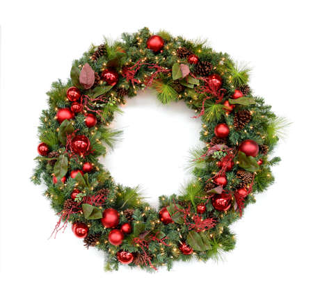 christmas ornaments: Christmas wreath isolated over white background