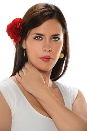 Portrait of beautiful Hispanic woman isolated over white background photo