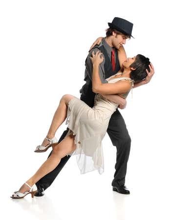 bailarin hombre: Pareja bailando sobre fondo blanco aislado Foto de archivo