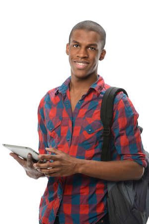 Young African American student using electronic pad isolated over white background