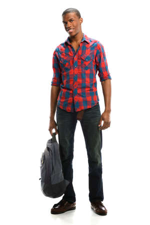 smiling young man: Young African American student holding backpack isolated over white background