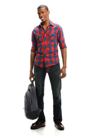 Young African American Student holding Rucksack isoliert über weißem Hintergrund