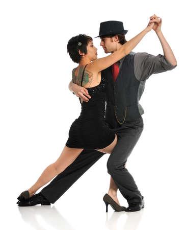 Paar dansen geïsoleerd op witte achtergrond