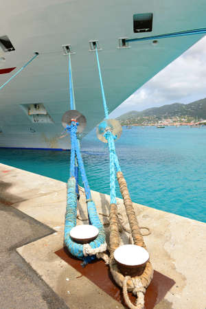 thomas: Passenger cruise ship moored at port of St. Thomas, US Virgin Islands