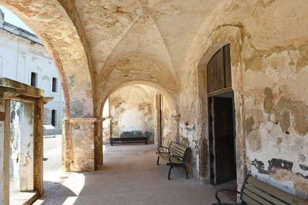 juan: Hallway with arches at Castillo San Cristobal fort in San Juan, Puerto Rico Stock Photo