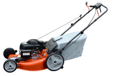 Lawn mower on side view isolated over white background