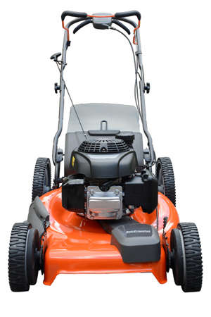 lawn mower: Modern lawn mower isolated over white background