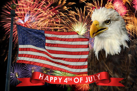4th of july: Fireworks display during fourth of July with American flag and bald eagle