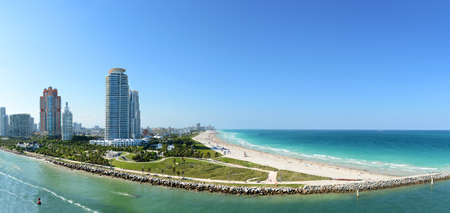 Panoramic aerial view of South Miami Beach during sunny day