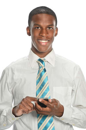 African American businesman using cell phone isolaed over white background photo