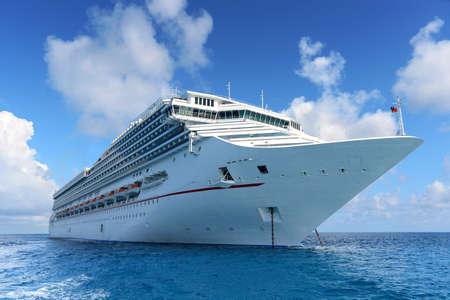 Luxury passenger cruise ship anchored at sea