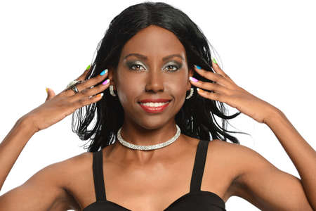 nails: African American woman with multi colored nails isolated over white background