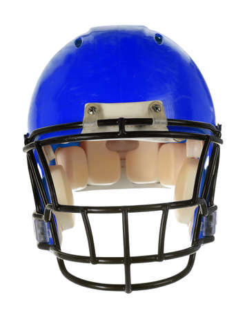 american football helmet: Blue football helmet in front view isolated over white background - With Clipping Path Stock Photo