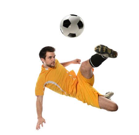 Fußball-Spieler in Aktion auf weißem Hintergrund isoliert