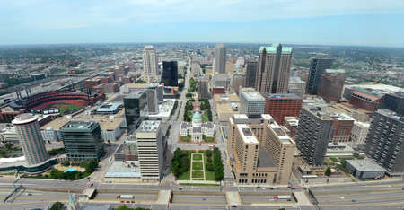 Downtown Saint Louis in aerial view - Image stitched from several photographs