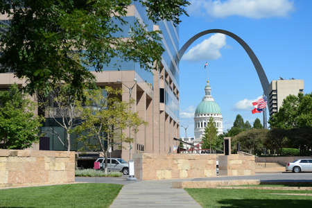 View of downtown Saint Louis, with Arch and Courthouse in background Stock Photo
