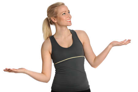 Portrait of beautiful young woman juggling imaginary objects Stock Photo - 30357135