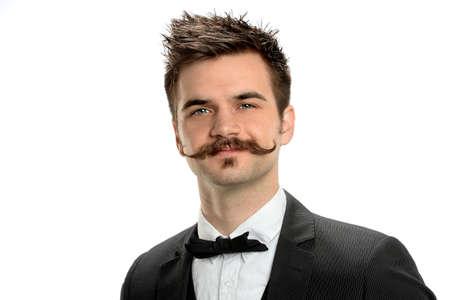 멋진 콧수염과 검은 넥타이 흰색 배경 위에 격리와 젊은 사업가