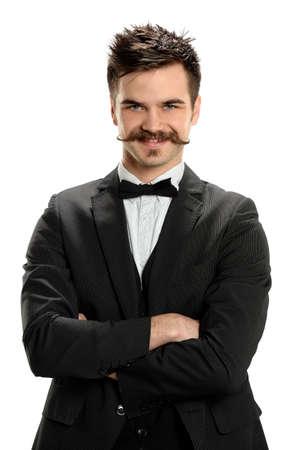 흰색 배경 위에 격리 멋진 콧수염을 입고 젊은 남자의 초상화 스톡 콘텐츠