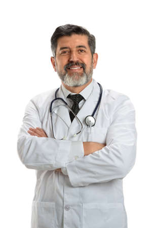 Portrait of Hispanic senior doctor with arms crossed isolated over white background Standard-Bild