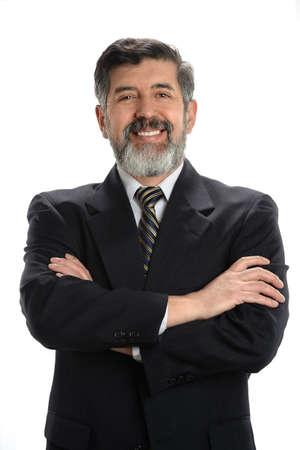 suit coat: Portrait of Hispanic Businessman smiling isolated over white background