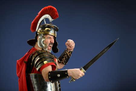 Roman centurion screaming and using sword