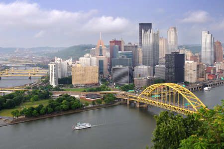 City of Pittsburgh in late afternoon showing its many bridges photo