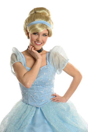 Portrait of beautiful young woman dressed in princess costume isolated over white background Stock Photo