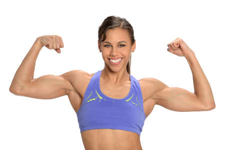 triceps: Young African American woman flexing muscles isolated over white background