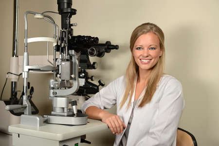 examination room: Female eye doctor in examination room