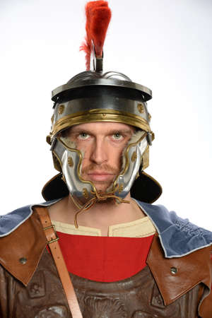 Portrait of Roman soldier isolated over white background