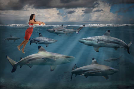 competitive business: Competitive business concept with businesswoman swimming with sharks