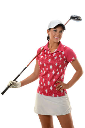 leasure: Young woman with golf club isolated over white background