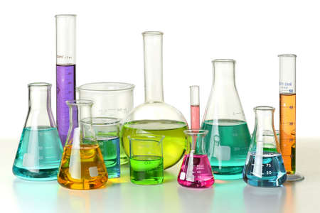 scientific equipment: Laboratory glassware on isolated over white background - With Clipping Path on glassware