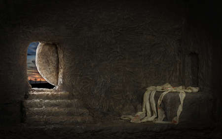 tomb empty: Empty tomb of Jesus with crosses in far hill Stock Photo
