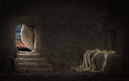 Empty tomb of Jesus with crosses in far hill Standard-Bild