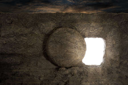 resurrected: Tomb of Jesus with light coming out of opening