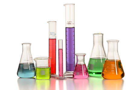 liquids: Laboratory glassware with liquids of different colors isolated over white background - With clipping path on glass
