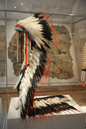 institute: CHICAGO, IL - MARCH 18: Native American Headdressat the Chicago Art Institute on March 18,  2012 in Chicago, Illinois