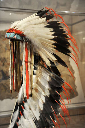 CHICAGO, IL -  MARCH 18: Detail of native American Headdressat the Chicago Art Institute on March 18,  2012 in Chicago, Illinois
