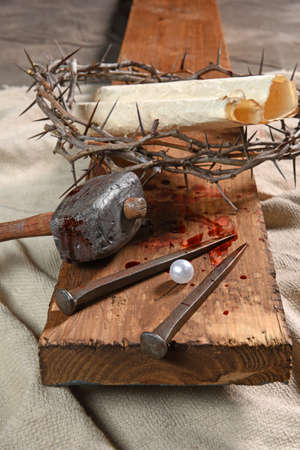 parable: Cross with nails, crown of thorns and the pearl of great price from Matthew 13:45-46 parable