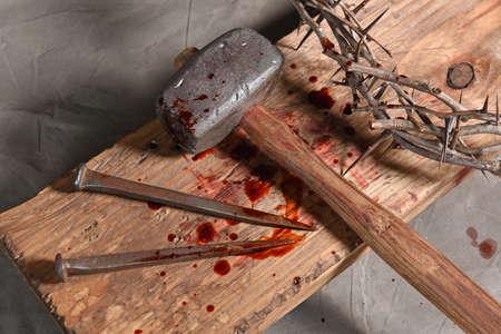 Christian symbols of the crucifixion of Jesus Stockfoto