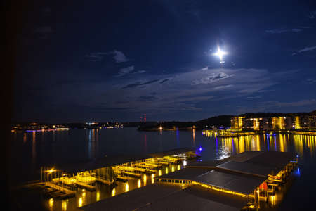 Night view of the Lake of the Ozarks in central Missouri