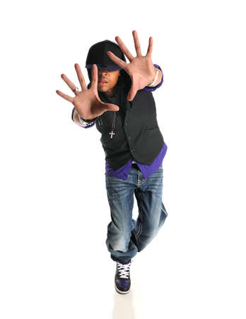 rapping: Portrait of hip hop African American dancer isolated over white backround