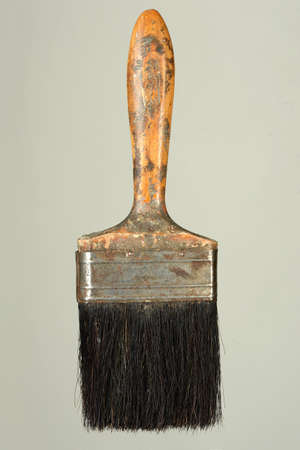 animal hair: Vintage paintbrush isolated over gray background Stock Photo