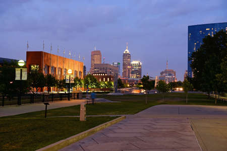 indianapolis: View of downtown Indianapolis indiana at dusk Stock Photo